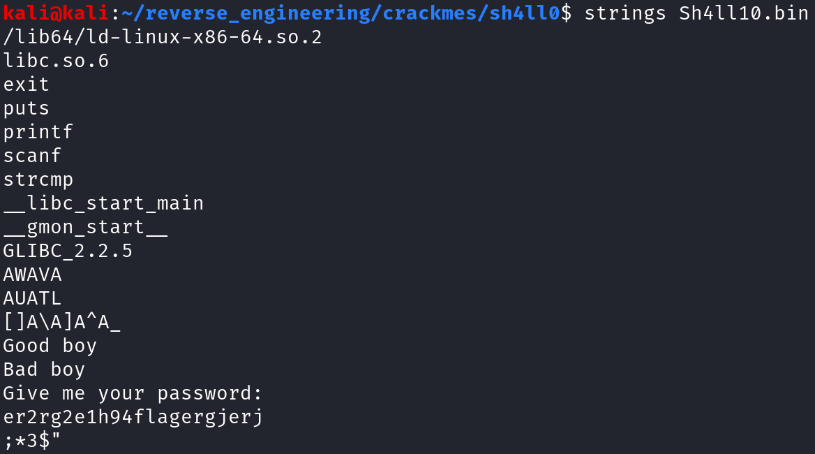 Output of strings on Sh4ll0.bin