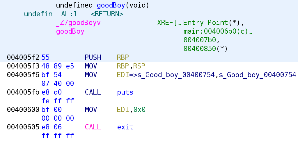 Disassembly of goodBoy function
