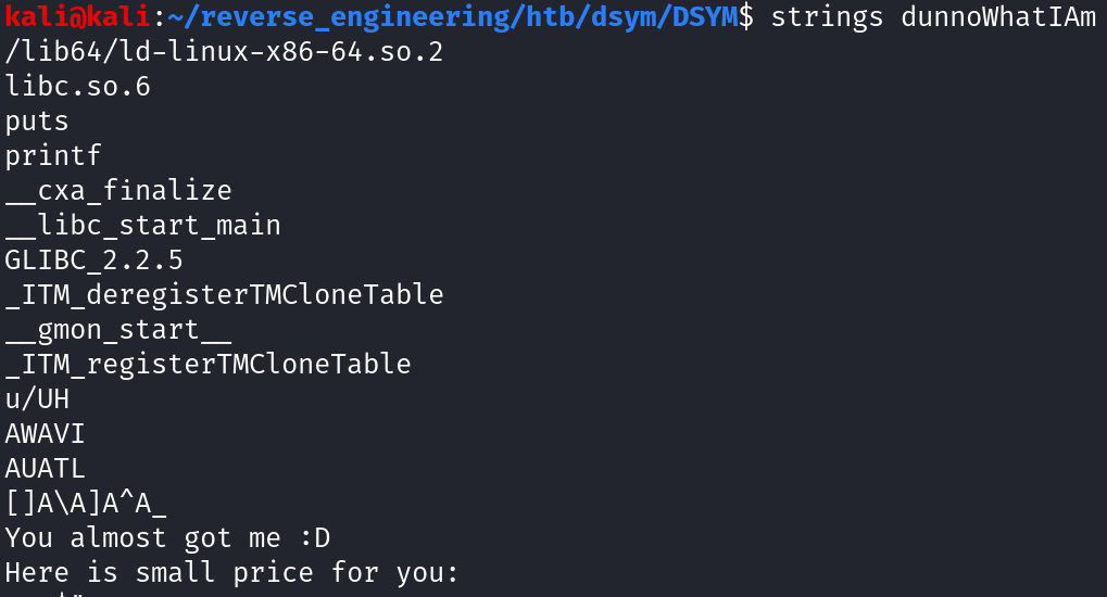 Output of running strings