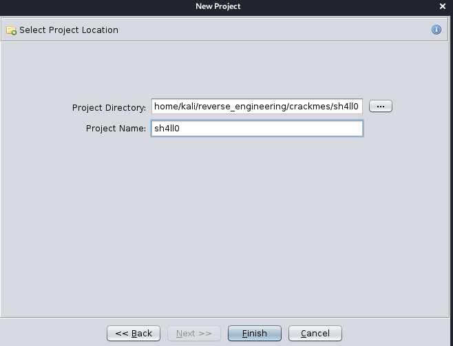Choose project directory/name