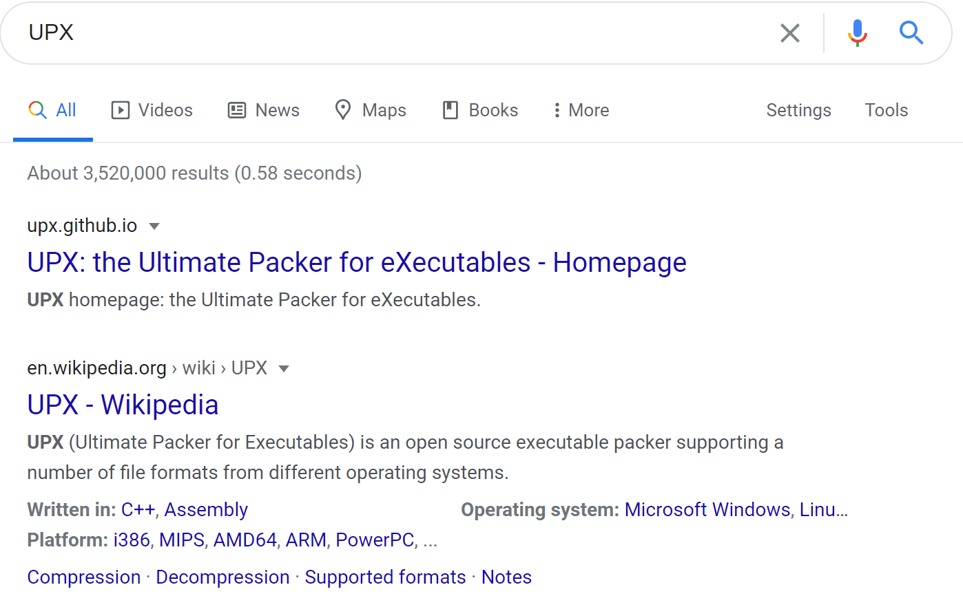 UPX Google Search Results