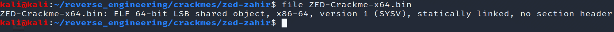 Output of file command on ZED-Crackme-x64.bin