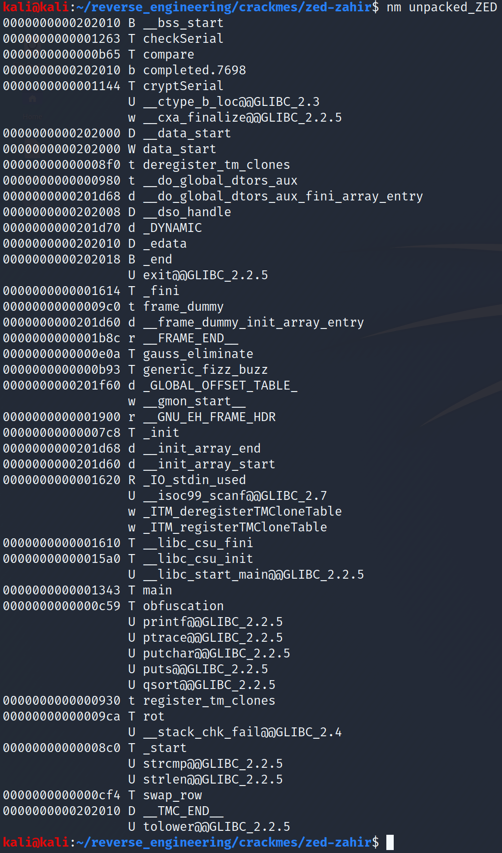 Output of the nm command on our unpacked binary