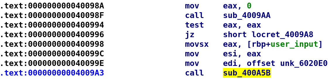 Code leading up to second function call