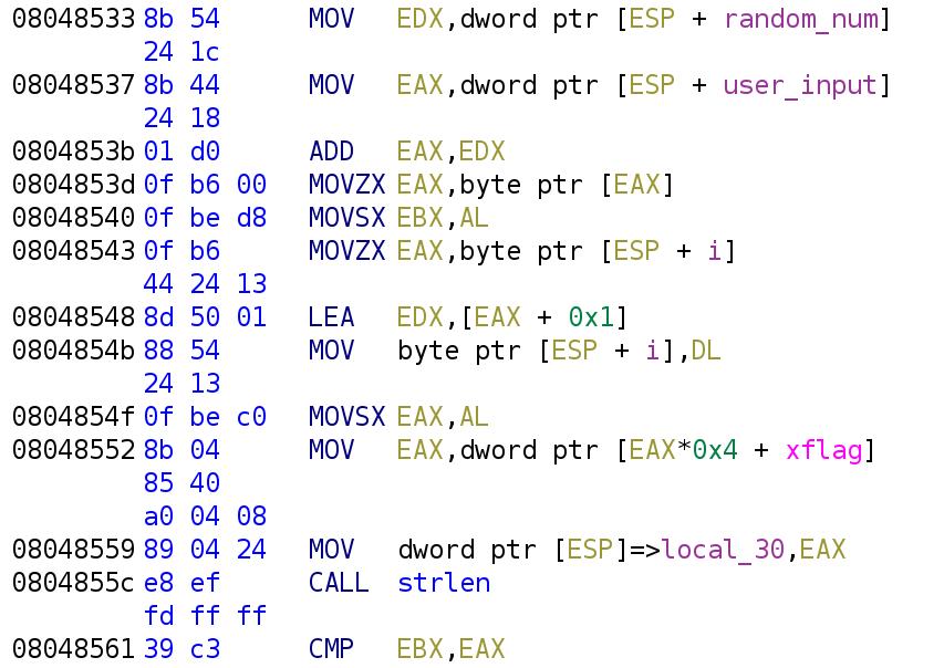 Comparing strlen(xflag[i]) to user_input[i]