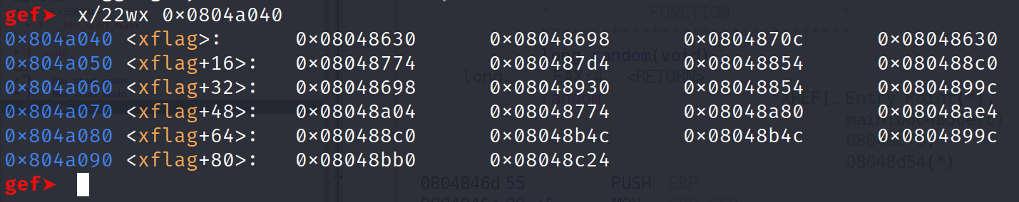 Examining 22 bytes from the start of the xflag variable