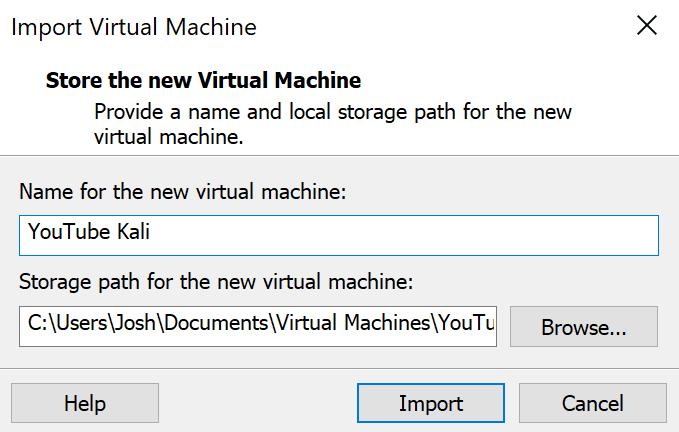 Import Virtual Machine Menu