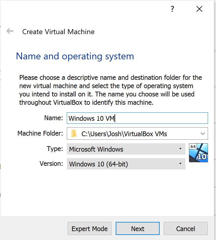 Create a Virtual Machine Menu