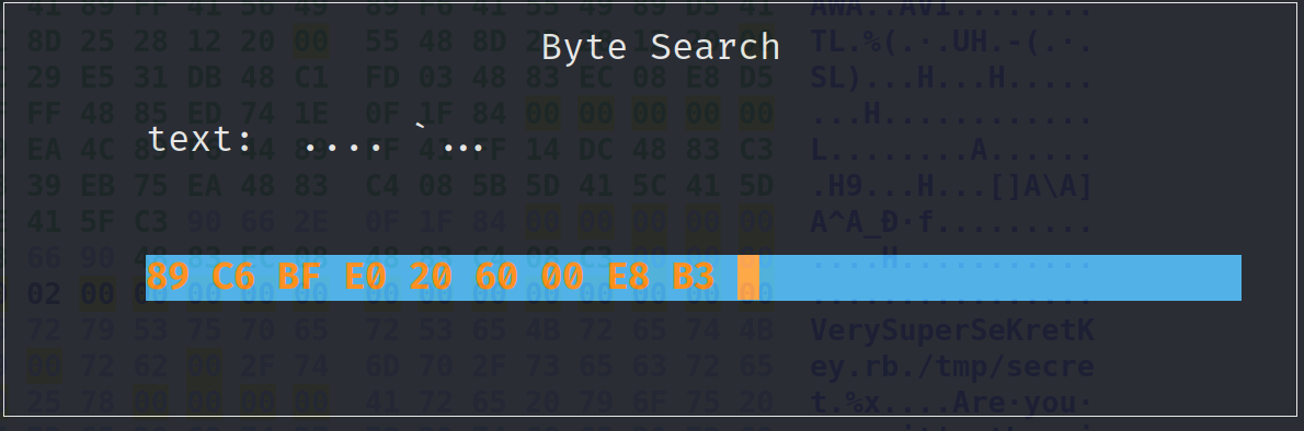Search for bytes prompt