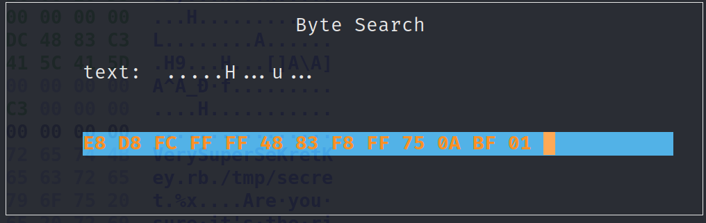 Searching for the bytes