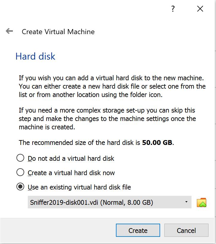 Select a hard disk menu