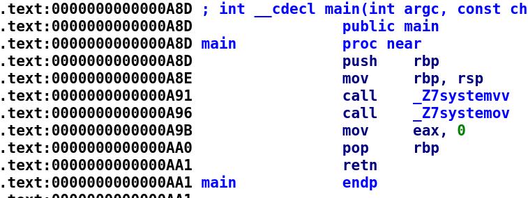 Disassembled main function