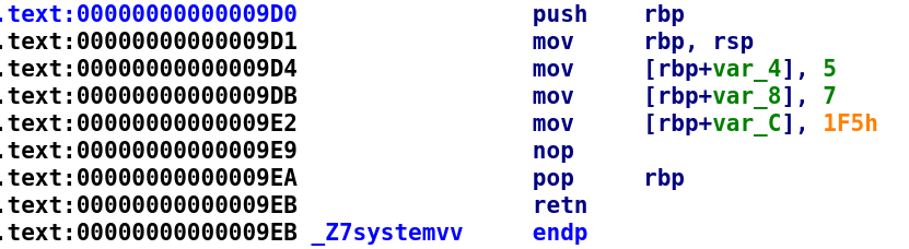 Disassembled systemv function