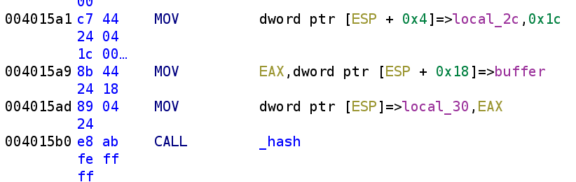 Calling the hash function
