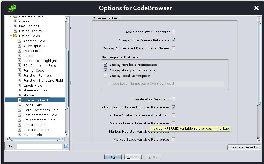 Modifying the tool options