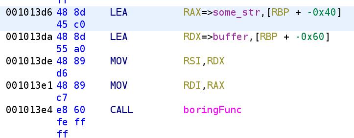 boringFunc function call