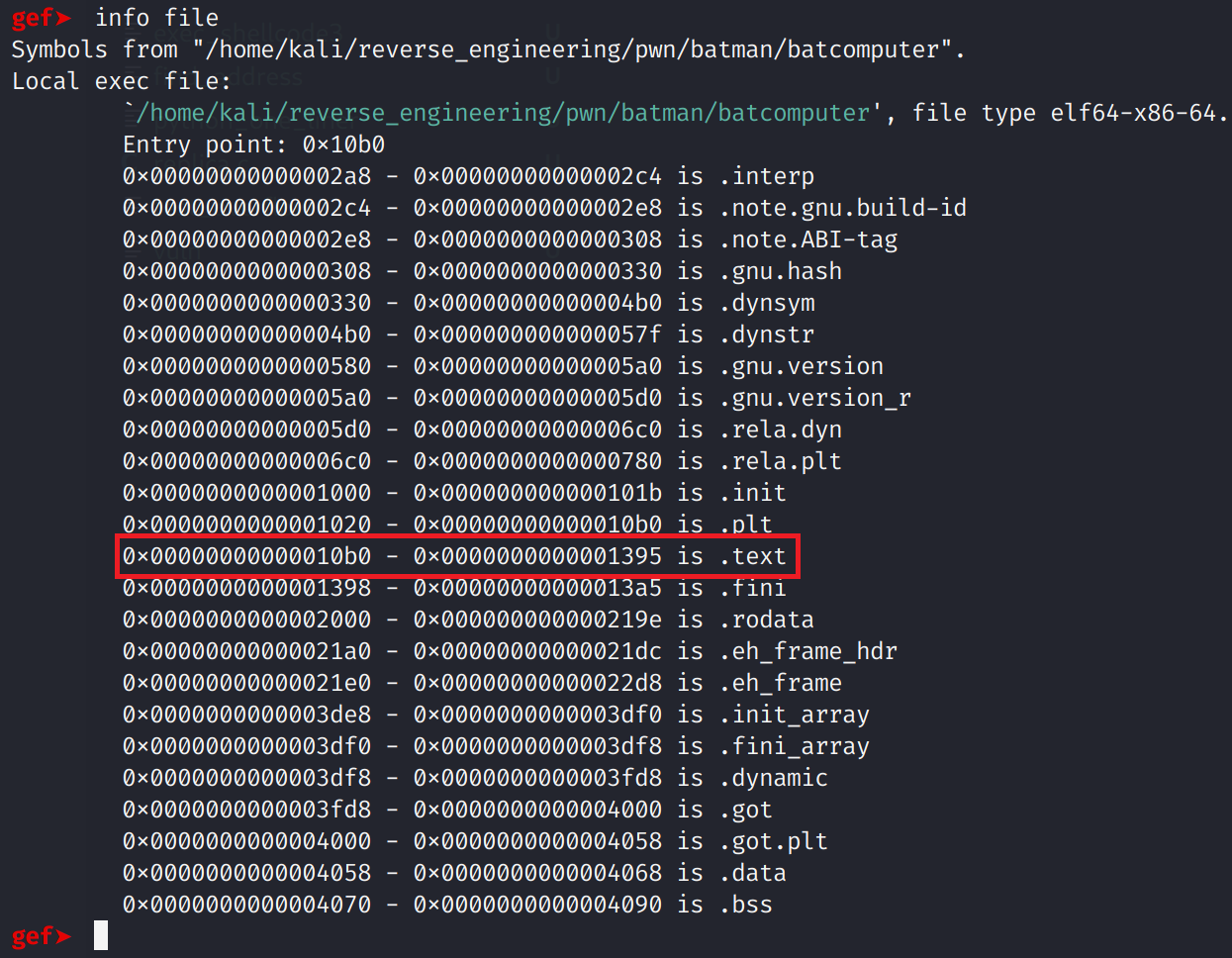 Getting information about the binary from gdb