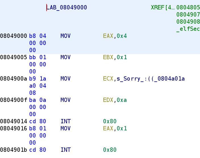 Bad answer code segment